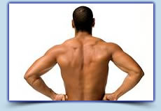 Man's back laser hair removal treatment